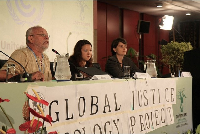 Ricardo Navarro, of Friends of the Earth El Salvador Addresses GJEP Press Conference. Photo: Ben Powless